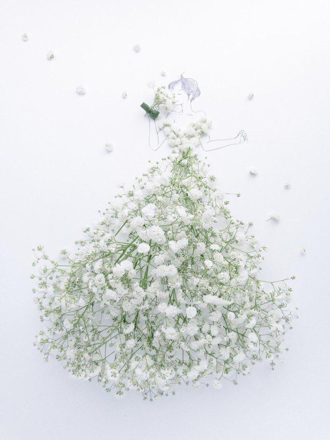 الفنانة اليابانية Hanaco Hanasakura تصمم لوحات #فساتين بالورود وأوراق الشجر #بنات - صورة ١٨
