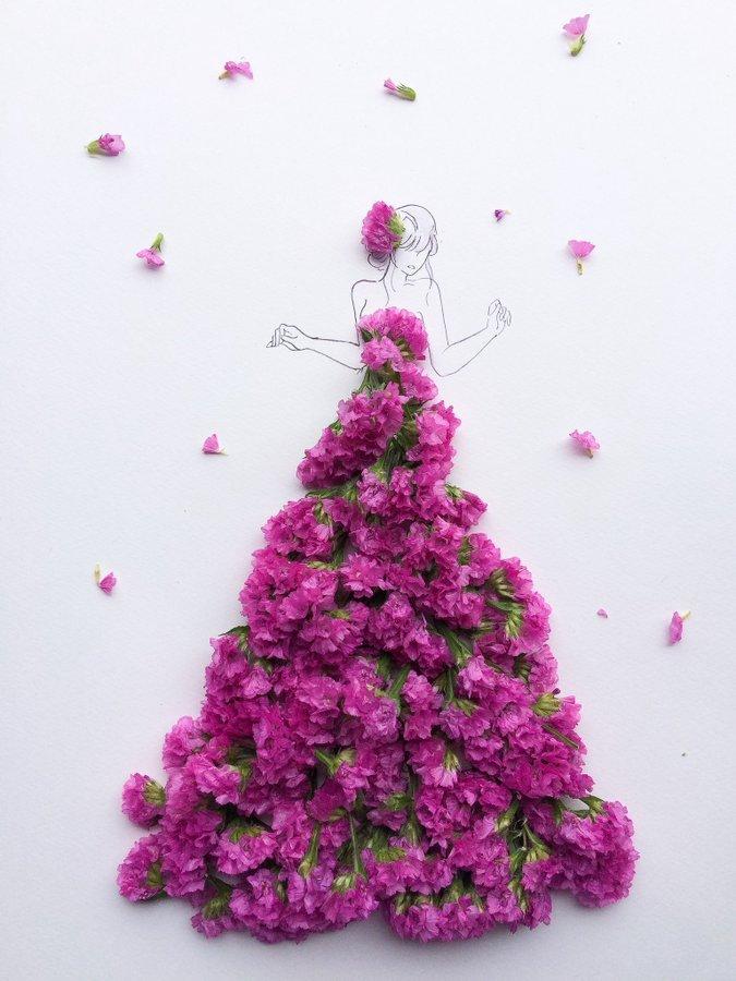 الفنانة اليابانية Hanaco Hanasakura تصمم لوحات #فساتين بالورود وأوراق الشجر #بنات - صورة ١٧