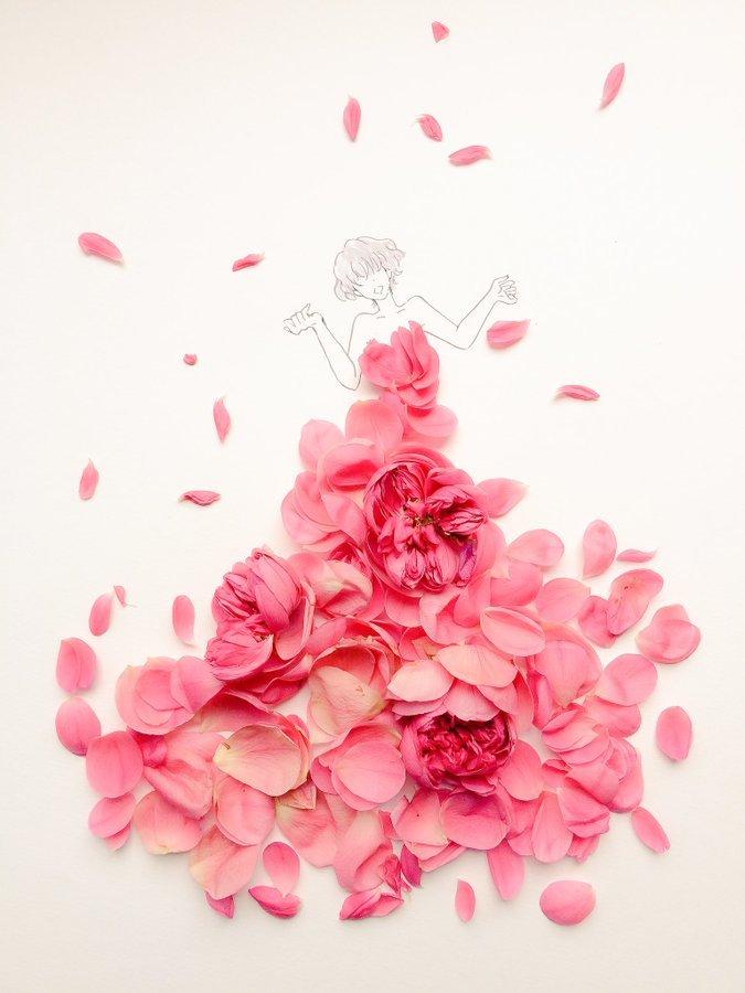 الفنانة اليابانية Hanaco Hanasakura تصمم لوحات #فساتين بالورود وأوراق الشجر #بنات - صورة ٨