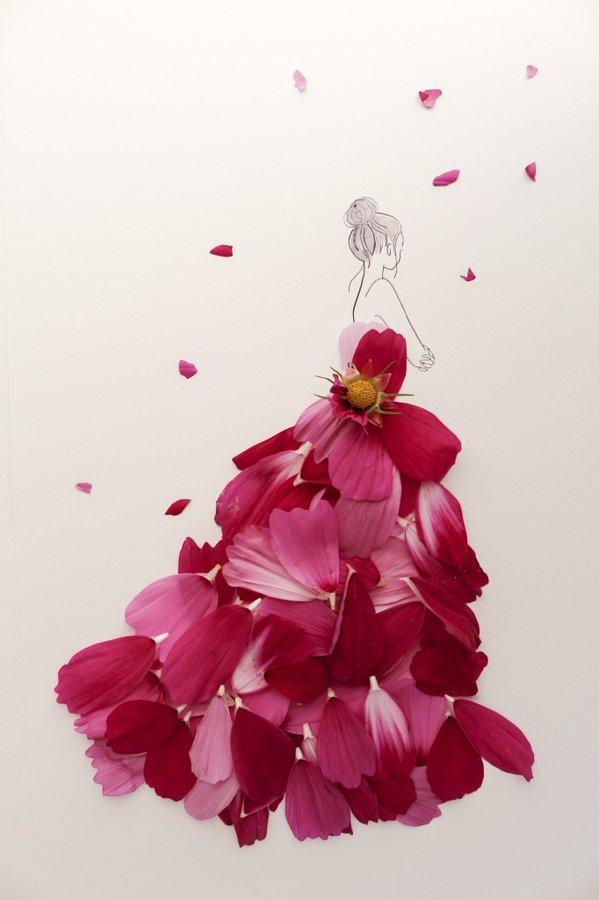 الفنانة اليابانية Hanaco Hanasakura تصمم لوحات #فساتين بالورود وأوراق الشجر #بنات - صورة ١٩