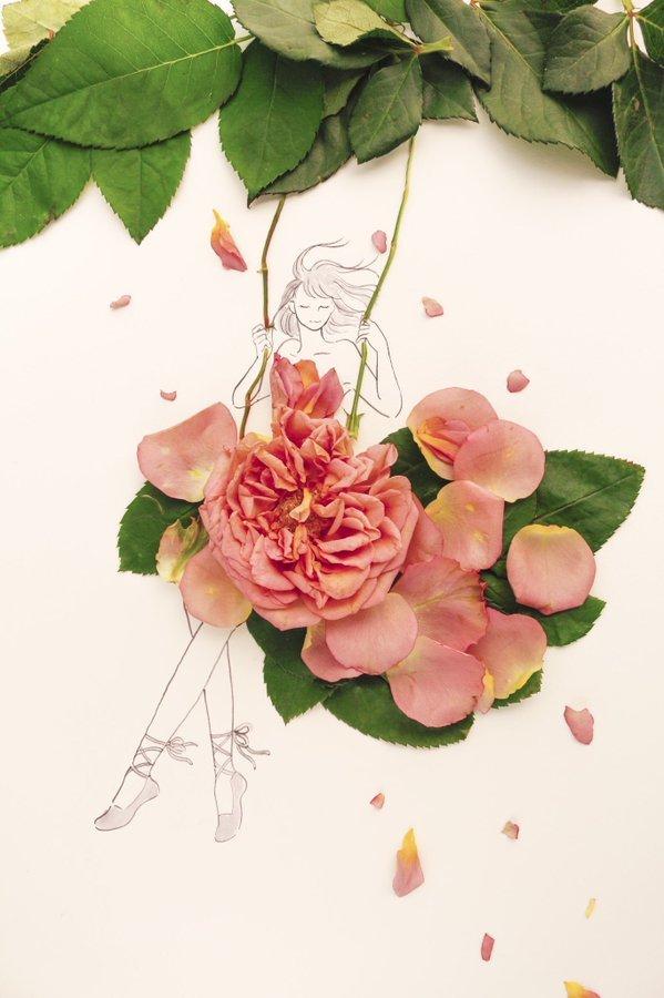 الفنانة اليابانية Hanaco Hanasakura تصمم لوحات #فساتين بالورود وأوراق الشجر #بنات - صورة ٢٠