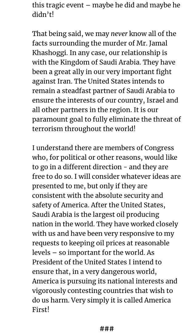 بيان الرئيس الأمريكي #ترامب في قضية #جمال_خاشقجي - الصفحة ٣