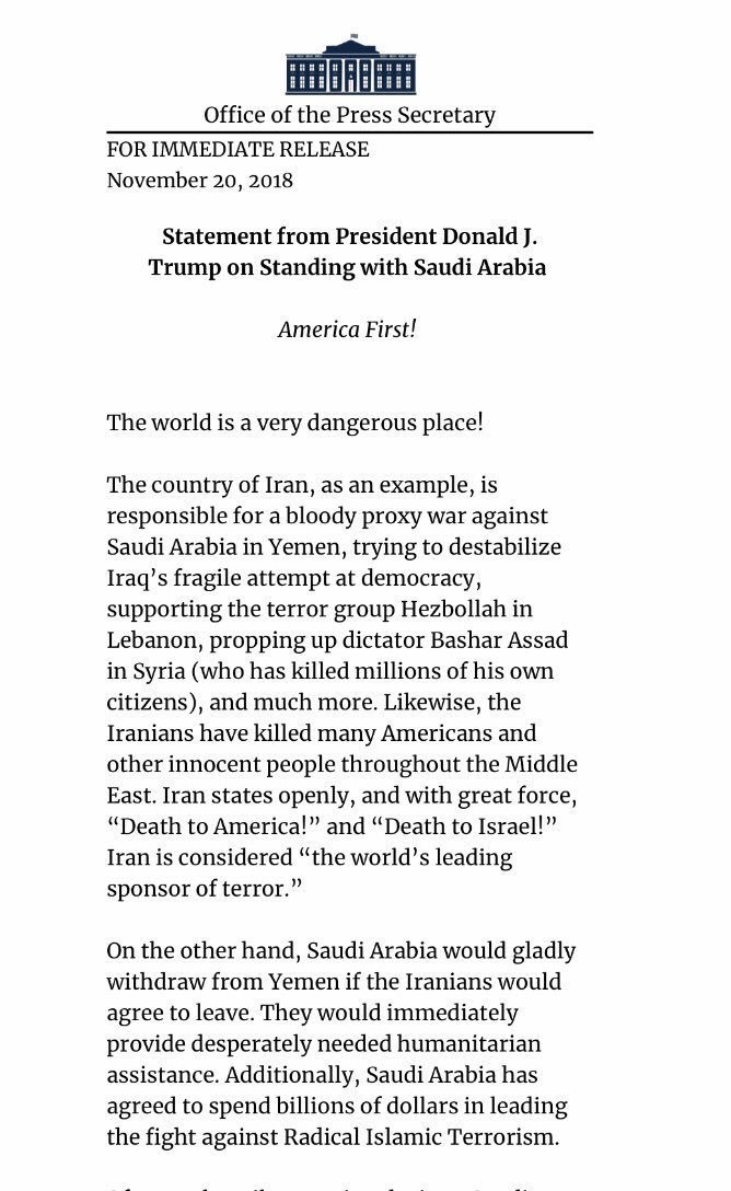 بيان الرئيس الأمريكي #ترامب في قضية #جمال_خاشقجي - الصفحة ١