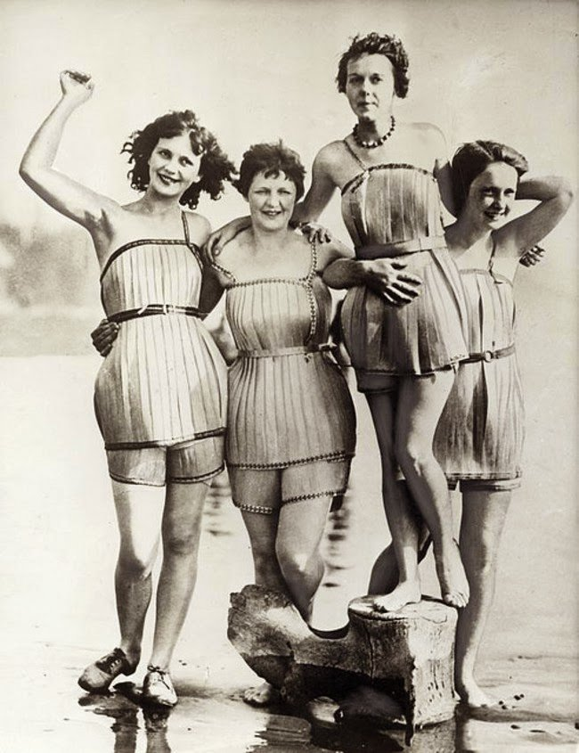 Wooden bathing suits made in 1929 that were supposed to make you more buoyant #History