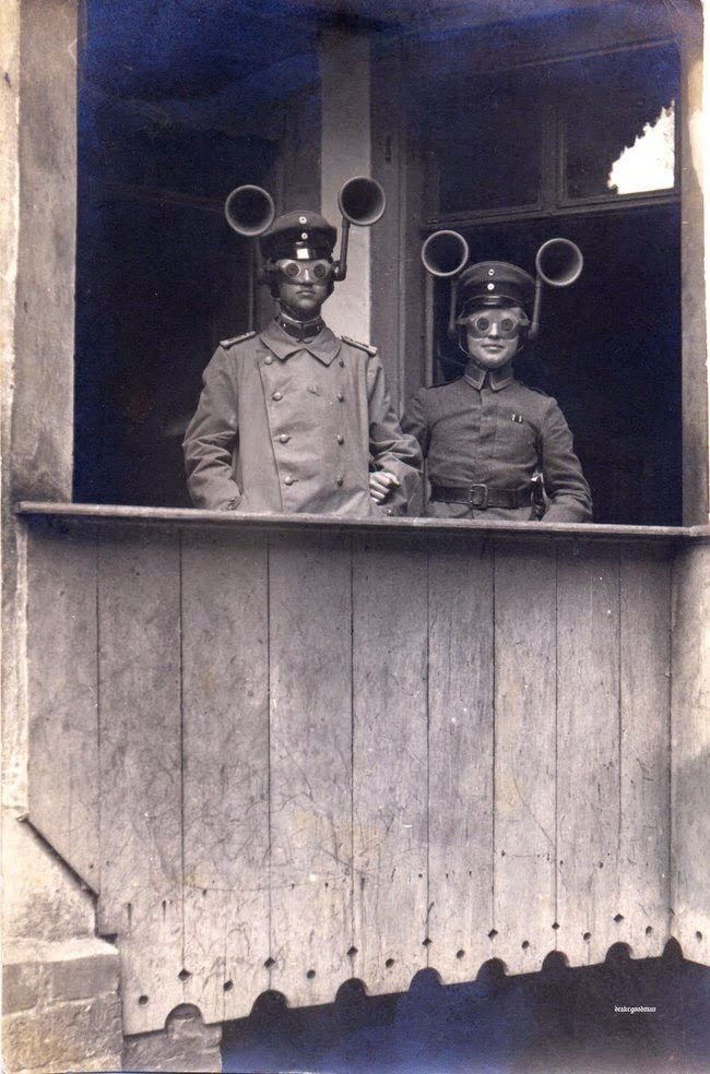 Sound finders were used in World War I to figure out which way enemy planes were coming from #History