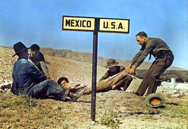A fugitive being dragged by border patrol so that he doesn't escape the USA and enter Mexico #History