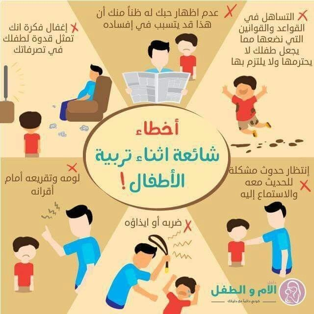 أخطاء شائعة عند تربية الطفل #انفوجرافيك #انفوجرافيك_عربي