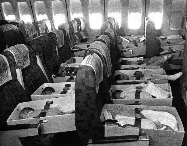 Babies, orphaned after the loss of their parents during the Vietnam war, are transported to the United States in 1975 in Operation Babylift #History