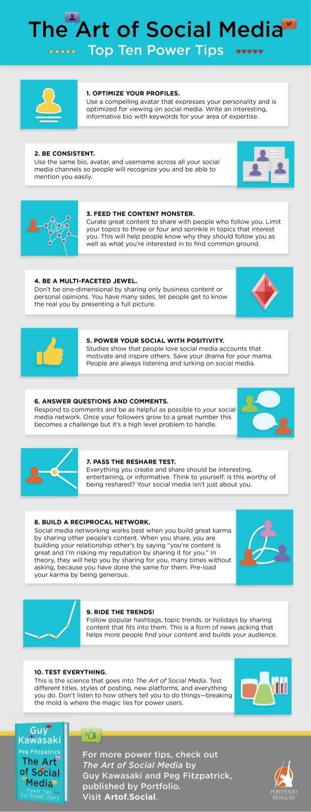 Top 10 power tips for #Social_Media #SMM #Infographic