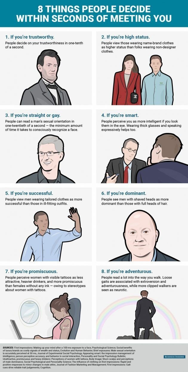Eight things people decide within seconds of meeting you #Infographic