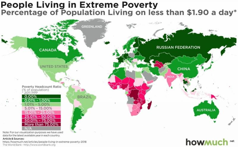 Mapping Extreme Poverty Around the World #Infographic
