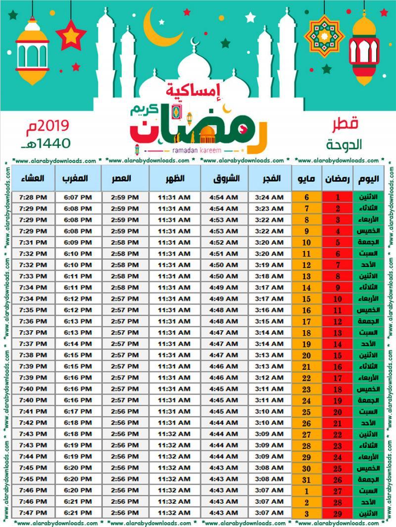 #إمساكية #رمضان 2019 ميلادي 1440 هجري - #الدوحة #قطر