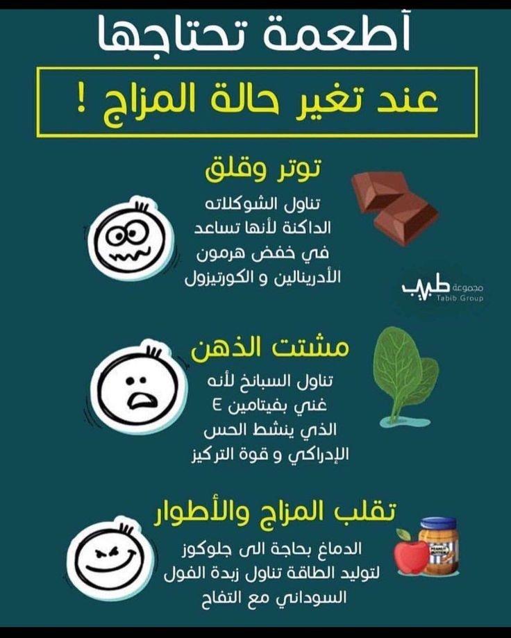 أطعمة تحتاجها عند تغير حالة المزاج #انفوجرافيك #انفوجرافيك_عربي