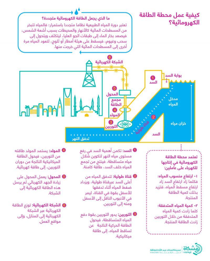 كيفية عمل محطة الطاقة الكهرومائية #انفوجرافيك #انفوجرافيك_عربي