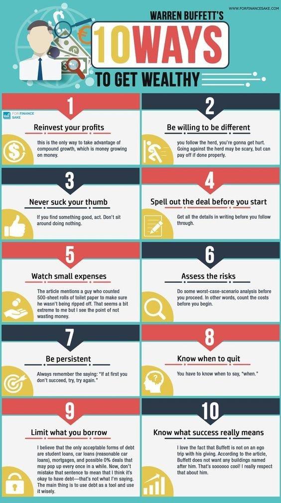 Ten ways to get wealthy #Warren_Buffett #Infographic