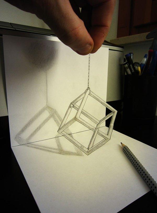 رسومات ثلاثية الأبعاد #3D باقلام الرصاص #Pencil_Sketch متقنة جدا #فن - صورة ١٦