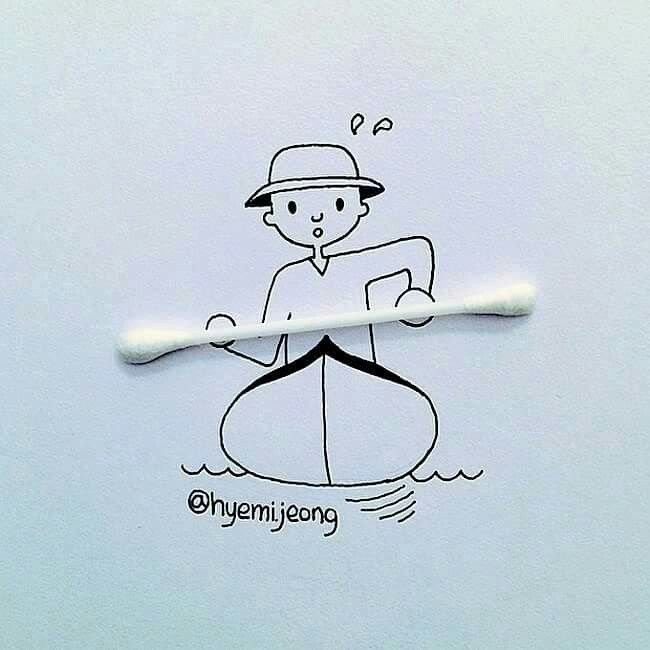 10 أعمال فنية للفنان @heymi.jeong يدمج فيها الرسم مع مواد متداولة #فن - صورة 1