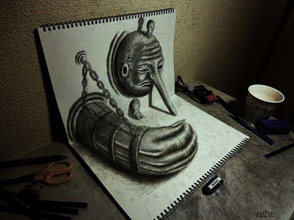 رسومات ثلاثية الأبعاد #3D باقلام الرصاص #Pencil_Sketch متقنة جدا #فن - صورة ١٢