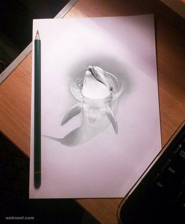 رسومات ثلاثية الأبعاد #3D باقلام الرصاص #Pencil_Sketch متقنة جدا #فن - صورة ١١