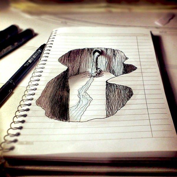 رسومات ثلاثية الأبعاد #3D باقلام الرصاص #Pencil_Sketch متقنة جدا #فن - صورة ٢٠