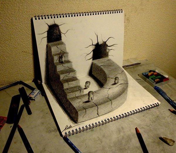 رسومات ثلاثية الأبعاد #3D باقلام الرصاص #Pencil_Sketch متقنة جدا #فن - صورة ١٤