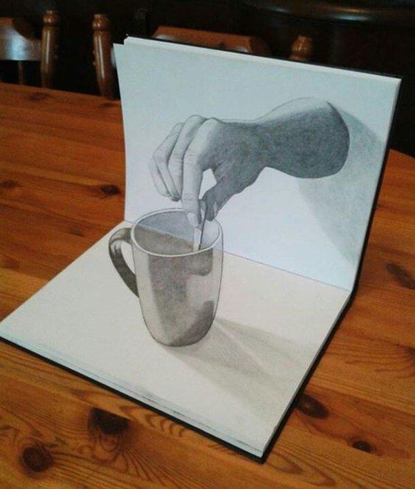 رسومات ثلاثية الأبعاد #3D باقلام الرصاص #Pencil_Sketch متقنة جدا #فن - صورة ١٣