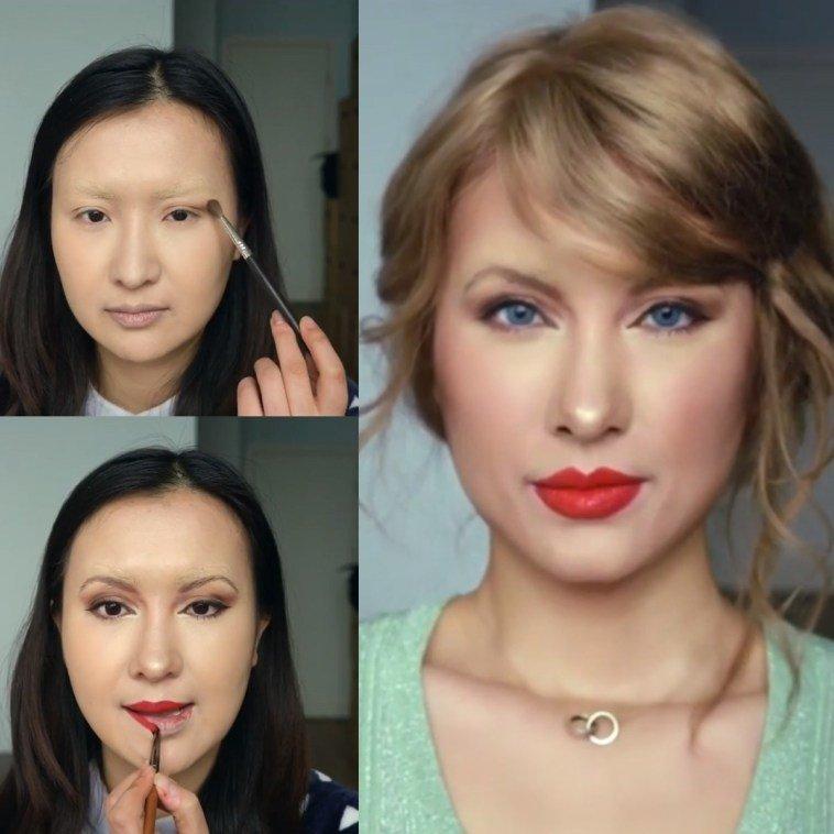 الفنانة الصينية #He_Yuhong تقوم بتغيير شكلها باستخدام #الماكياج لتصبح نسخة من #مشاهير عالميين #بنات #فن - Taylor Swift