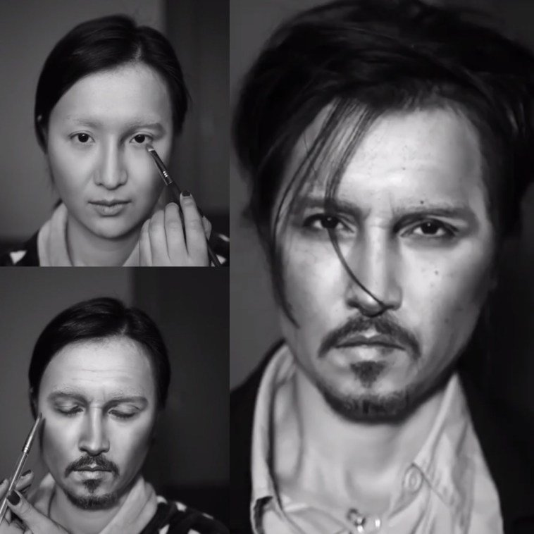 الفنانة الصينية #He_Yuhong تقوم بتغيير شكلها باستخدام #الماكياج لتصبح نسخة من #مشاهير عالميين #بنات #فن - Johnny Depp