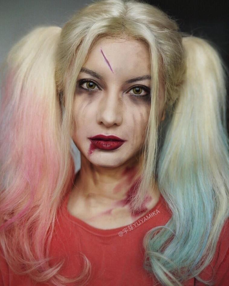 الفنانة الصينية #He_Yuhong تقوم بتغيير شكلها باستخدام #الماكياج لتصبح نسخة من #مشاهير عالميين #بنات #فن - Harley Quinn