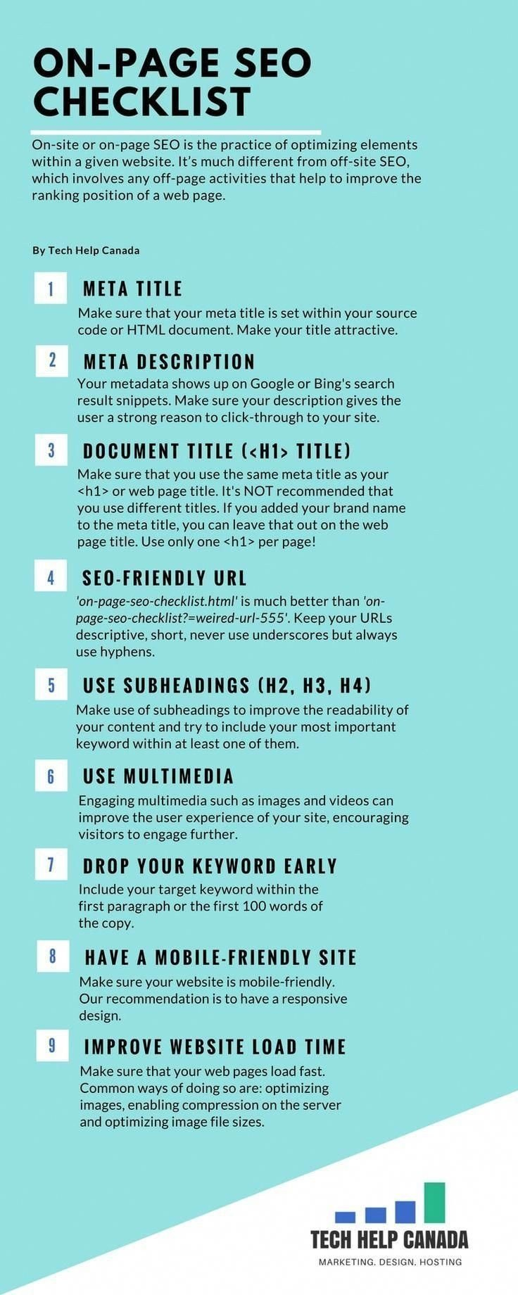 On page #SEO checklist #SMM #Infographic