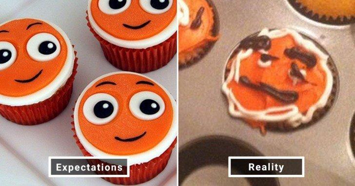 الفرق بين شكل الحلويات والأطعمة بين الوصفات و بعد عملها في المنزل #Pinterest #مضحك #نهفات - صورة 1