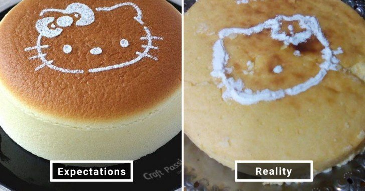 الفرق بين شكل الحلويات والأطعمة بين الوصفات و بعد عملها في المنزل #Pinterest #مضحك #نهفات - صورة 12