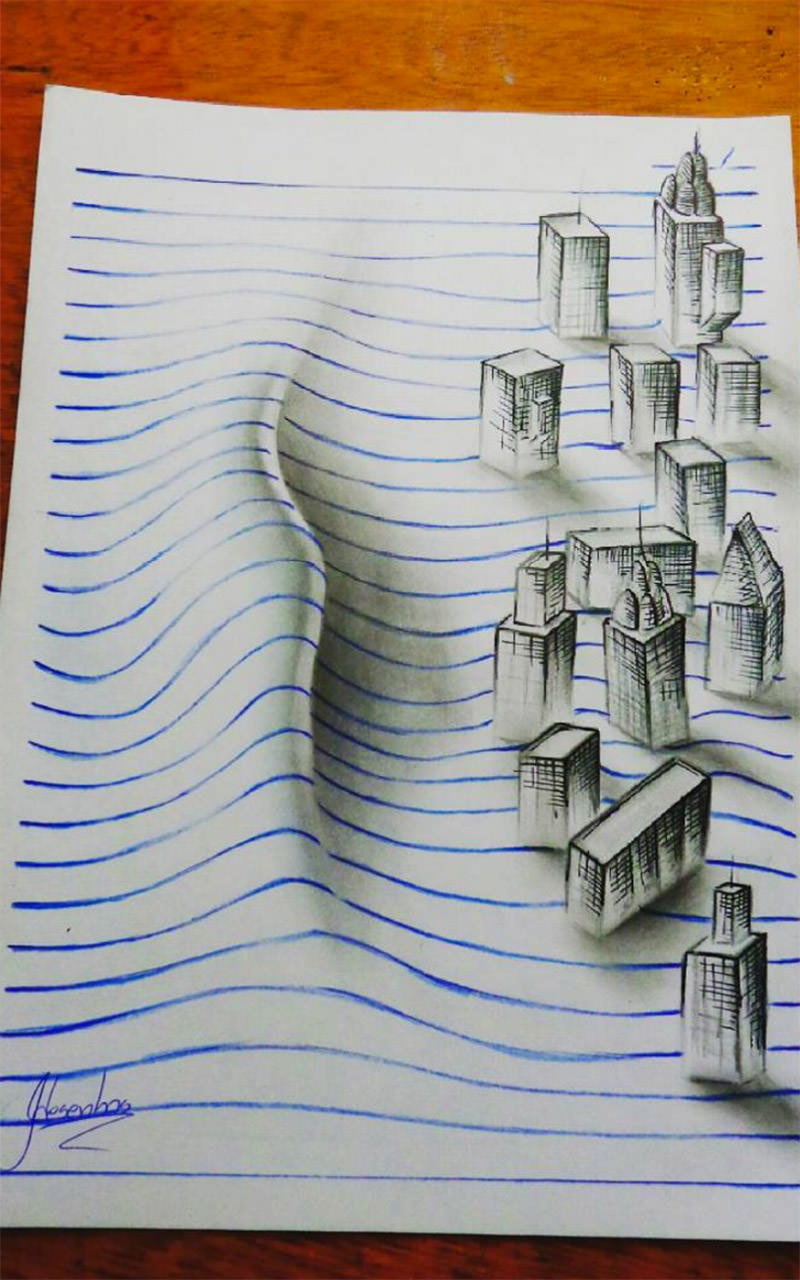 16 لوحة فنية ثلاثية الأبعاد #3D للفنان @naslinhasdocaderno #فن - صورة 16