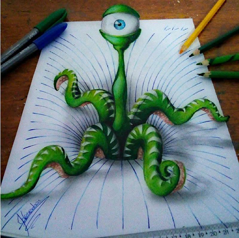 16 لوحة فنية ثلاثية الأبعاد #3D للفنان @naslinhasdocaderno #فن - صورة 12