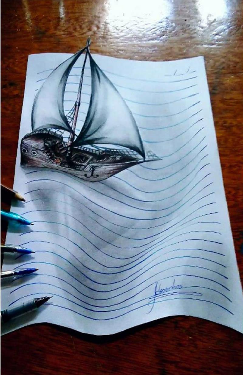 16 لوحة فنية ثلاثية الأبعاد #3D للفنان @naslinhasdocaderno #فن - صورة 11