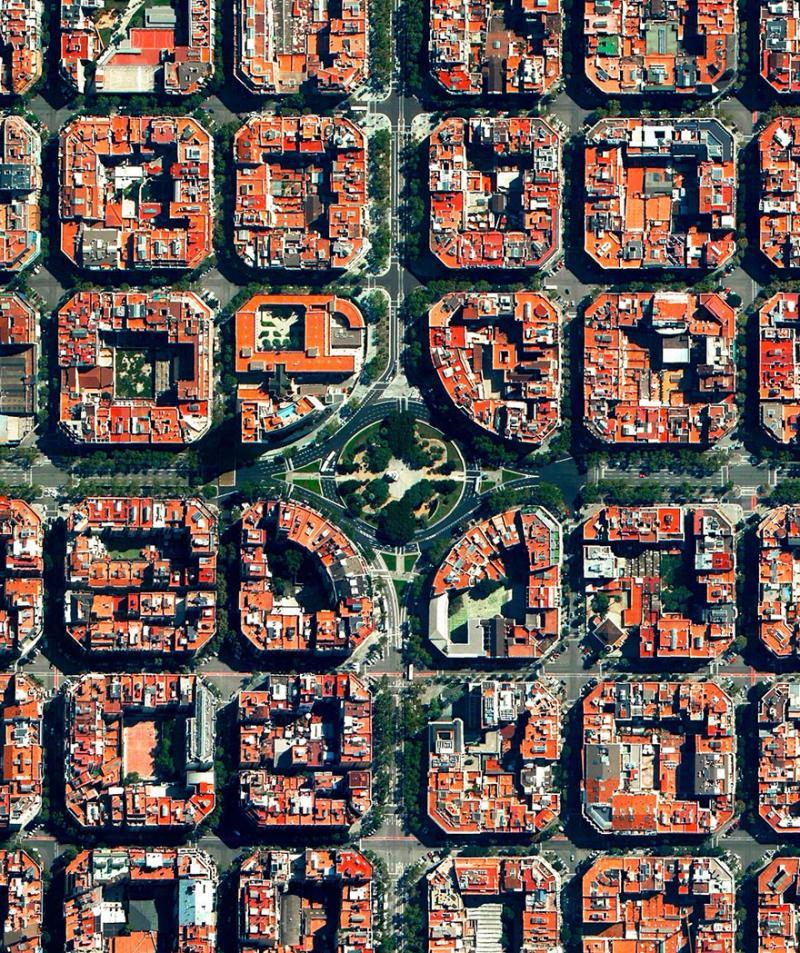 Amazing #Satellite Photos from the #World - Plaça De Tetuan, Eixample District, #Barcelona , #Spain - Image 64