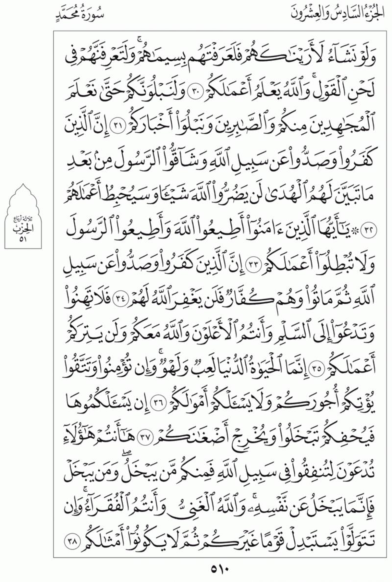 #القرآن_الكريم بالصور و ترتيب الصفحات - #سورة_محمد صفحة رقم 510