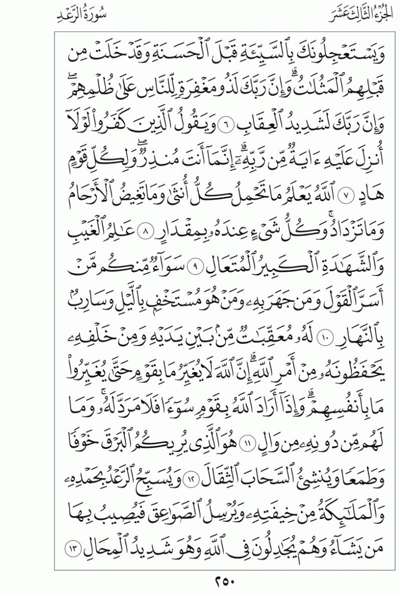 #القرآن_الكريم بالصور و ترتيب الصفحات - #سورة_الرعد صفحة رقم 250