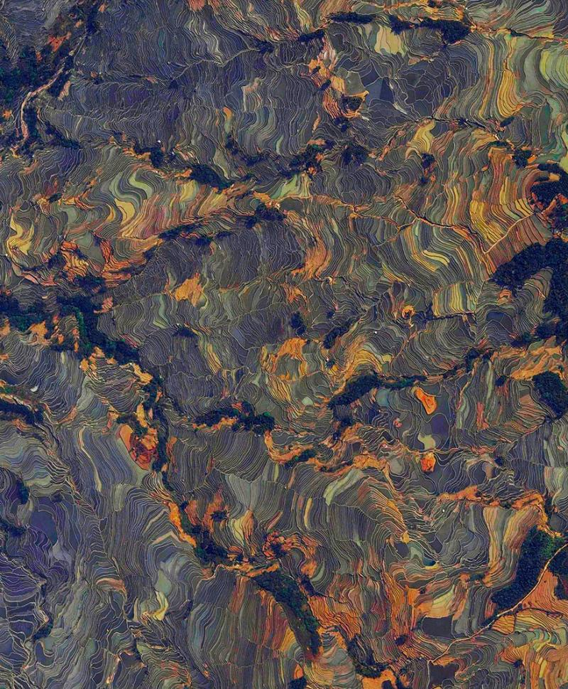 Amazing #Satellite Photos from the #World - Rice Terraces, Yuanyang County, #China - Image 100