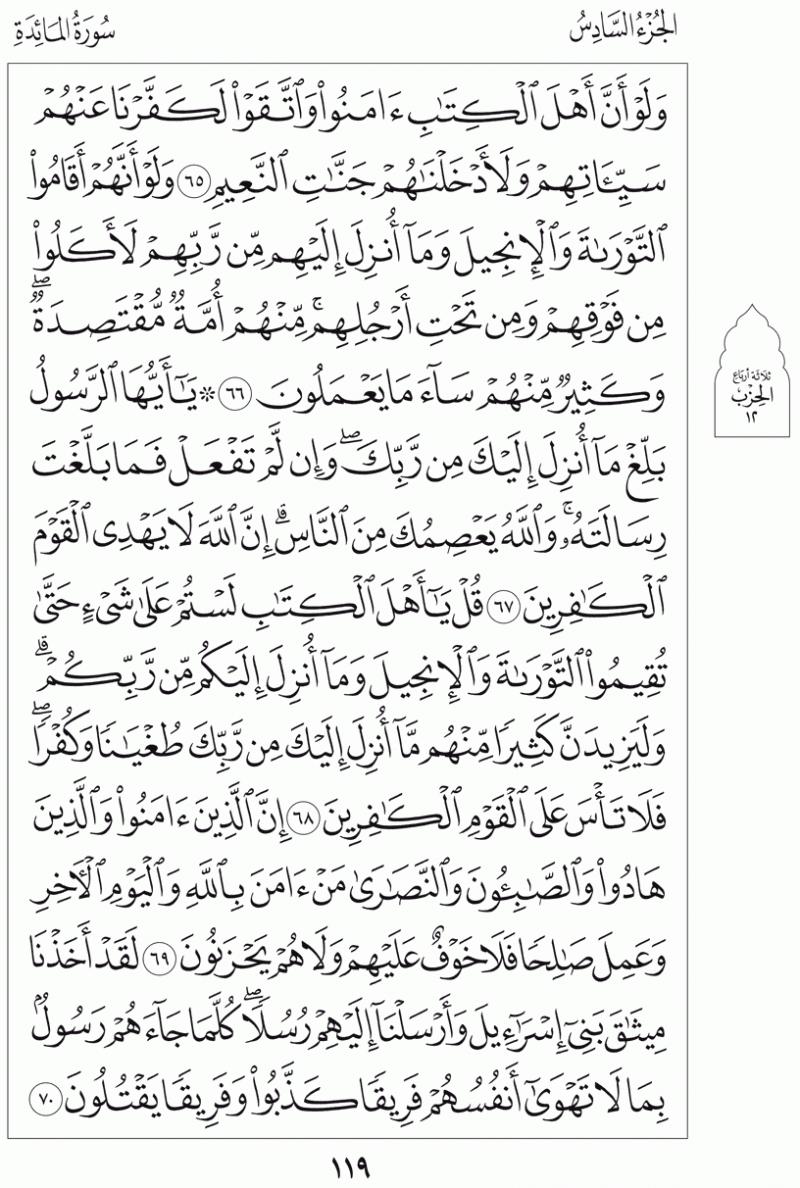 #القرآن_الكريم بالصور و ترتيب الصفحات - #سورة_المائدة صفحة رقم 119