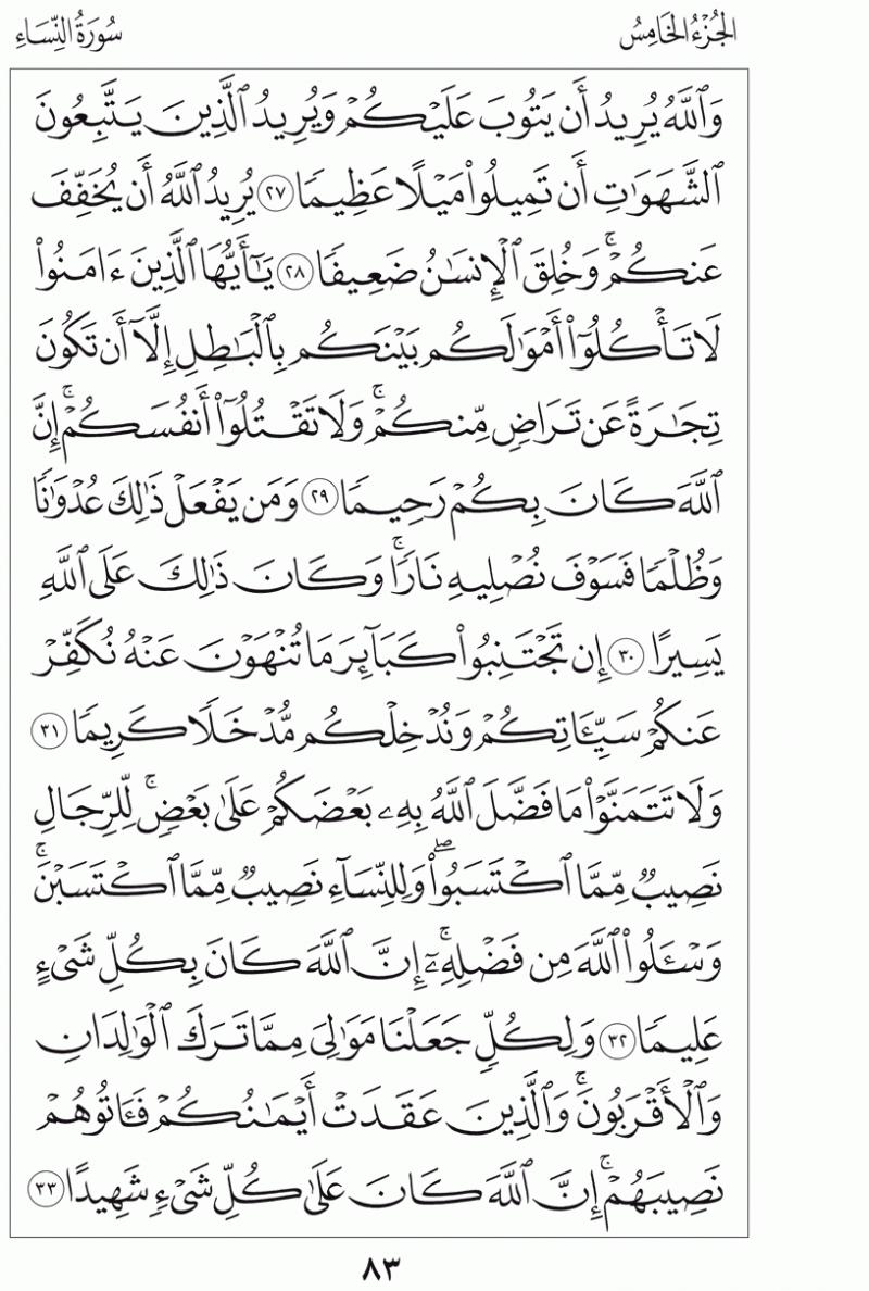 #القرآن_الكريم بالصور و ترتيب الصفحات - #سورة_النساء صفحة رقم 83