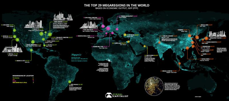 Ranked: The Megaregions Driving the Global Economy #Infographic