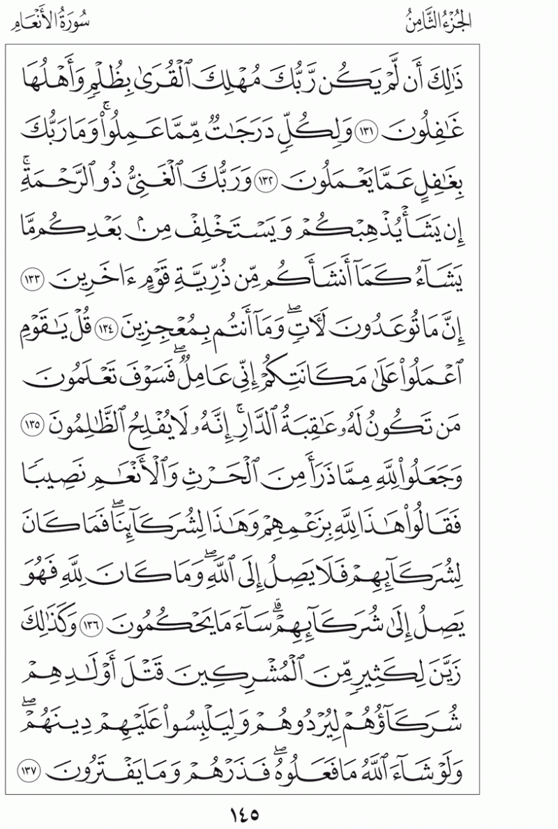 #القرآن_الكريم بالصور و ترتيب الصفحات - #سورة_الأنعام صفحة رقم 145