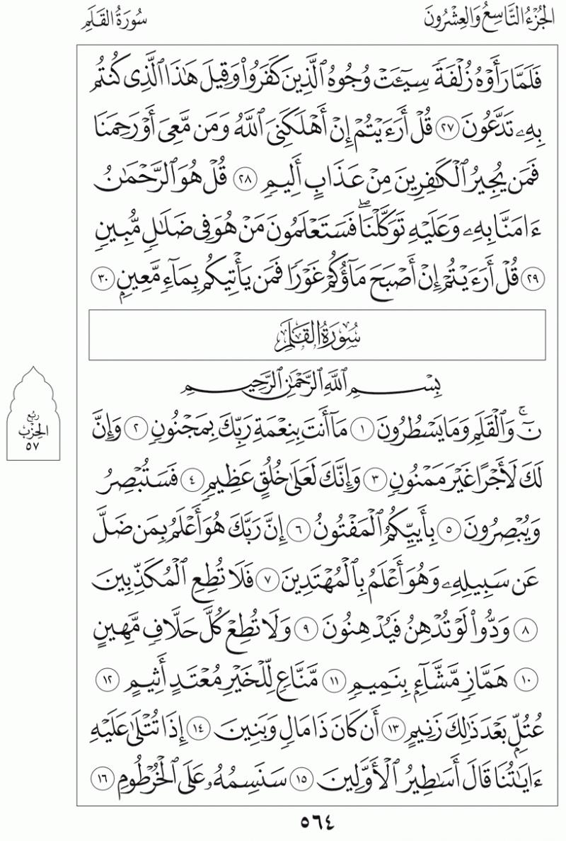 #القرآن_الكريم بالصور و ترتيب الصفحات - #سورة_القلم صفحة رقم 564