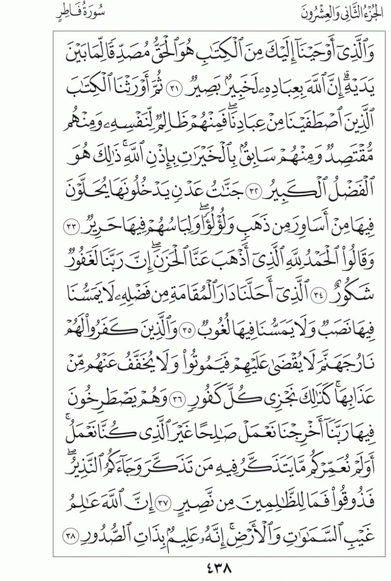 #القرآن_الكريم بالصور و ترتيب الصفحات - #سورة_فاطر صفحة رقم 438