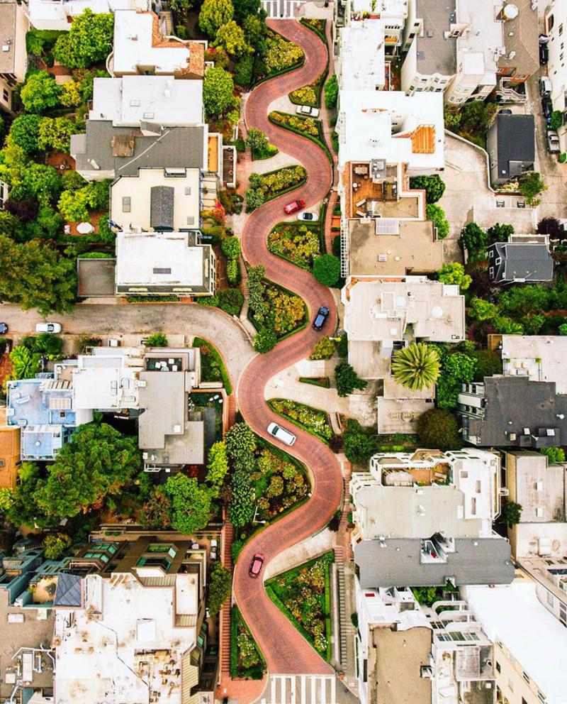 Amazing #Satellite Photos from the #World - Lombard Street, San Francisco, #California , #United_States - Image 71