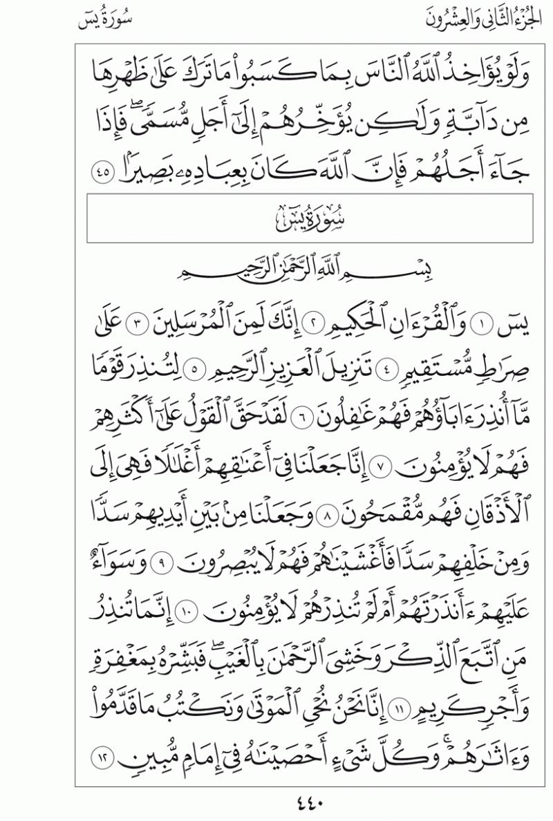 #القرآن_الكريم بالصور و ترتيب الصفحات - #سورة_يس صفحة رقم 440