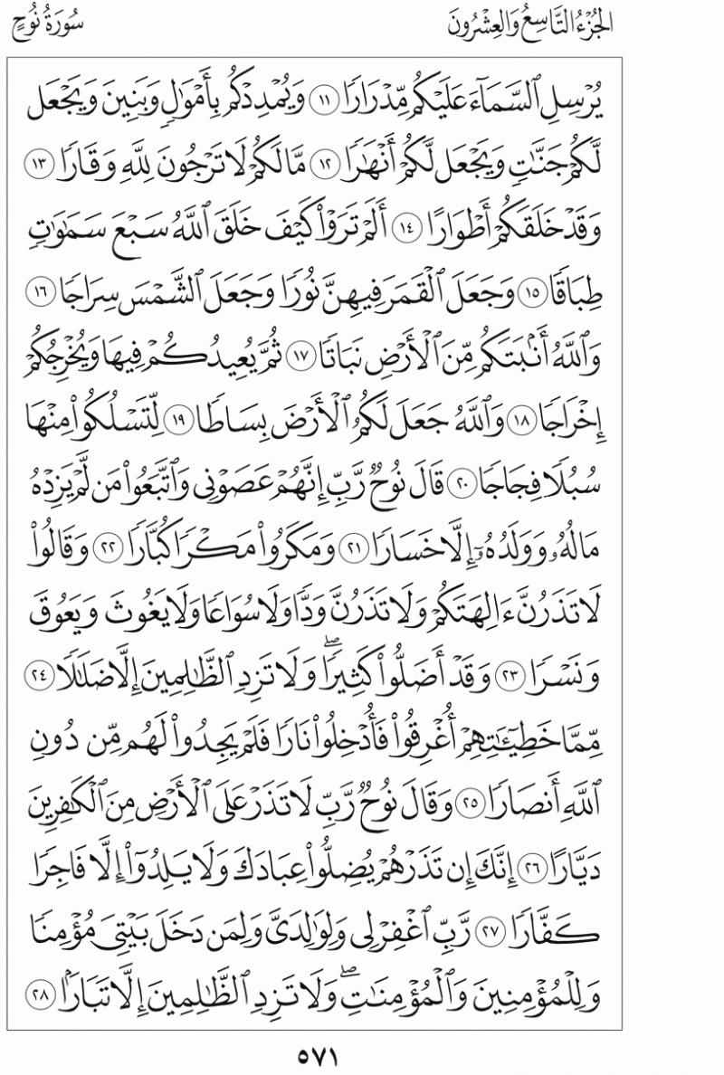 #القرآن_الكريم بالصور و ترتيب الصفحات - #سورة_نوح صفحة رقم 571