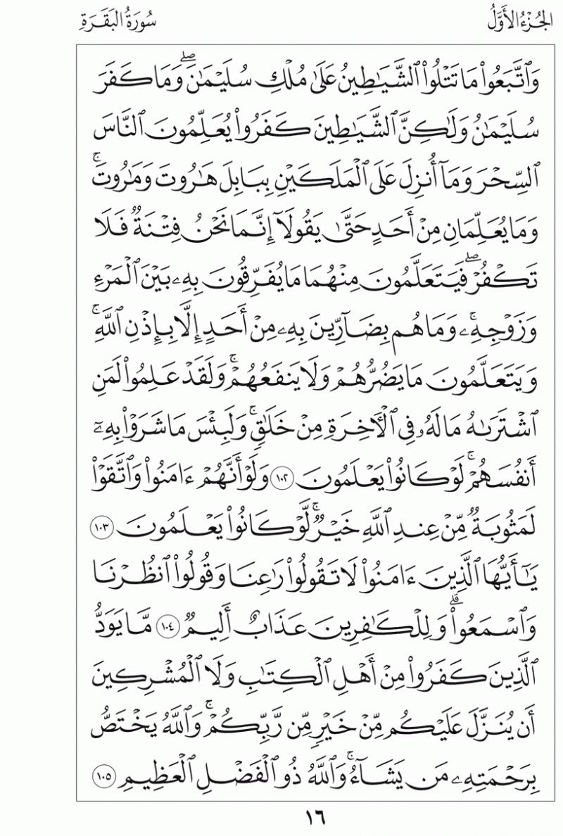 #القرآن_الكريم بالصور و ترتيب الصفحات - #سورة_البقرة صفحة رقم 16