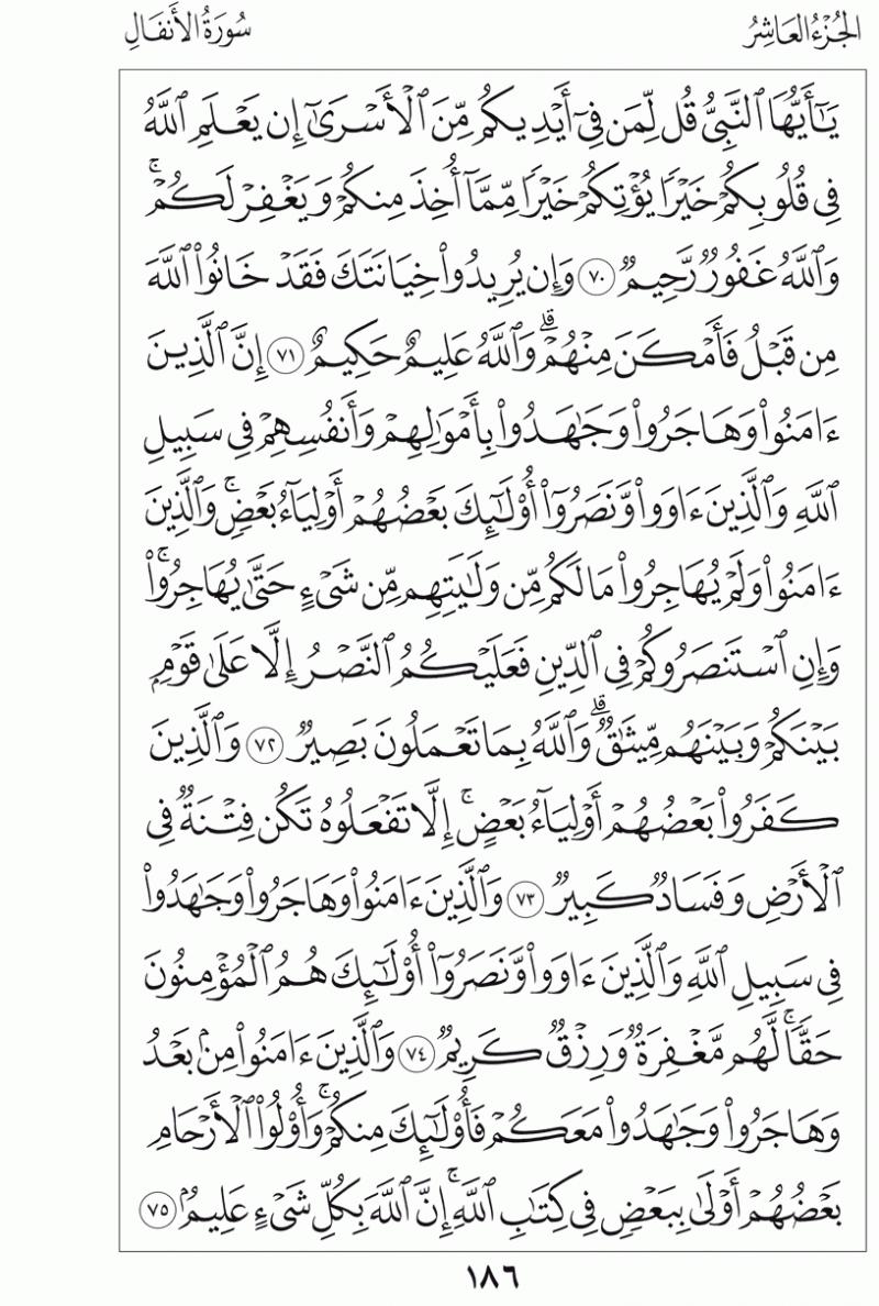 #القرآن_الكريم بالصور و ترتيب الصفحات - #سورة_الأنفال صفحة رقم 186